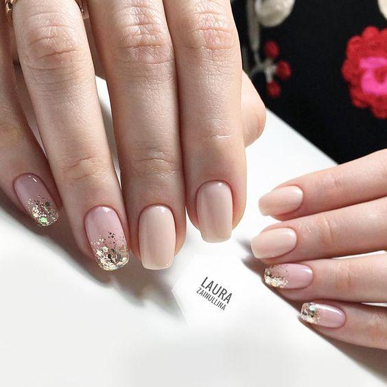 Beige golden nails
