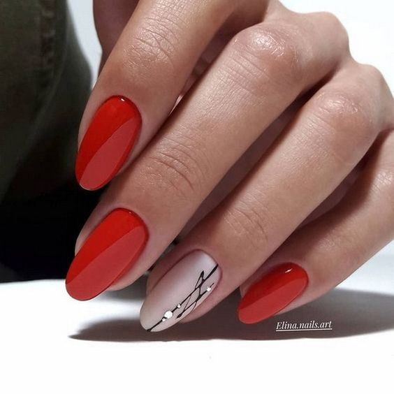Beige red nails