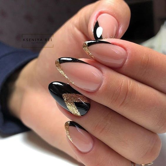 Black golden nails with french