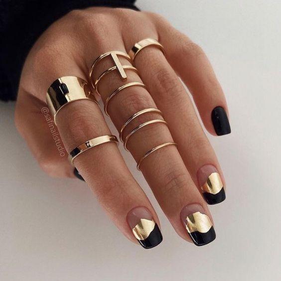 Black golden nails