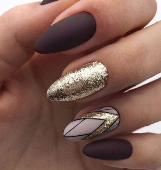 Brown golden nails