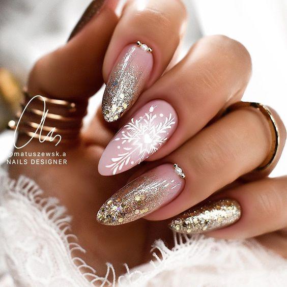 Golden nails for winter