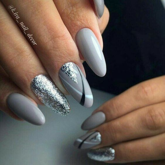 Gray manicure with silver glitter
