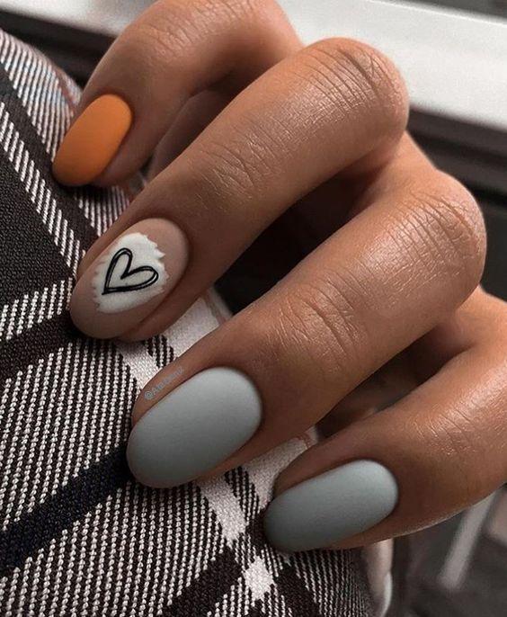 Orange gray nails