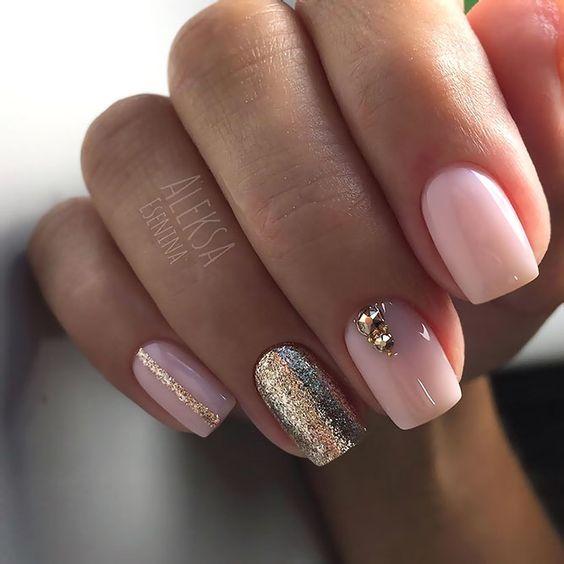 Pink golden manicure