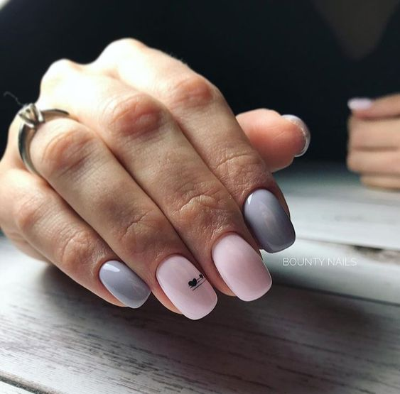 Pink gray manicure