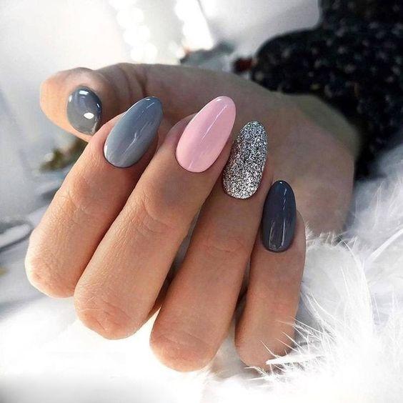 Pink gray nails