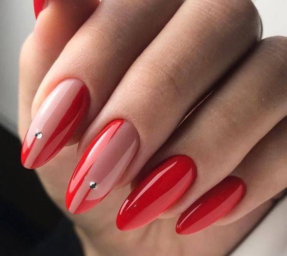 Red nails with patterns