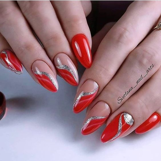 Red nails with silver design