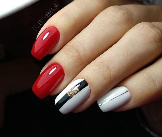 Red white nails design