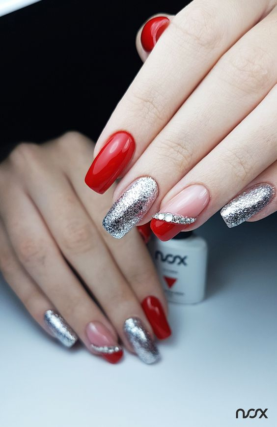 Silver red nails ideas
