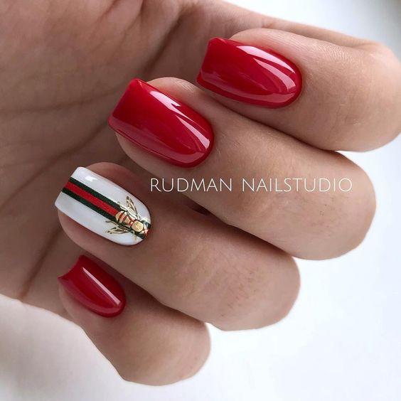 White red nails design