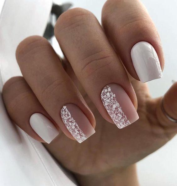 Beige white nails