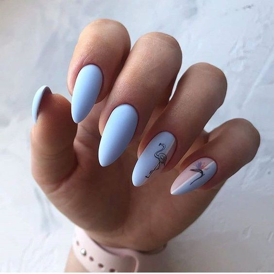 Blue beige nails with patterns