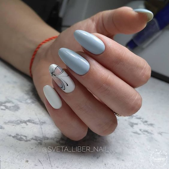Blue nails with butterfly