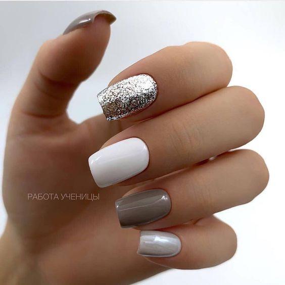 Gray white nails