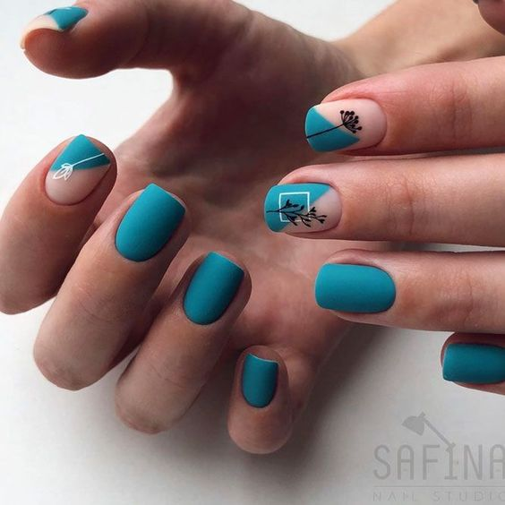 Matte short nails with patterns