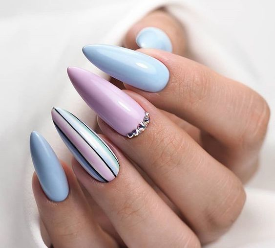 Pink baby blue nails