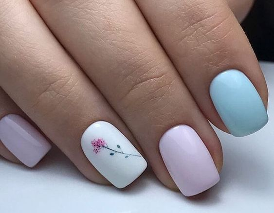 Pink blue nails with patterns