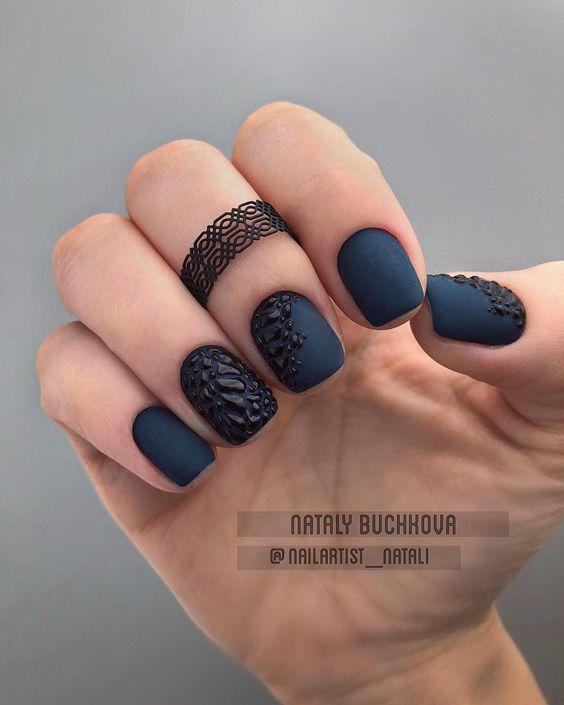 Short navy blue nails