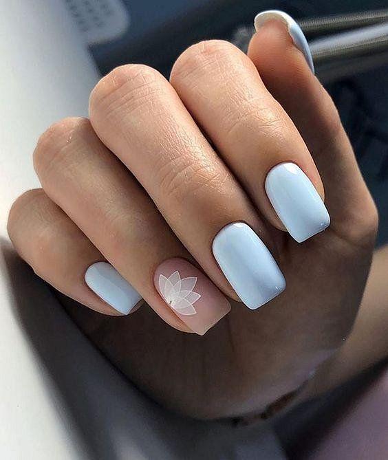 Square blue nails
