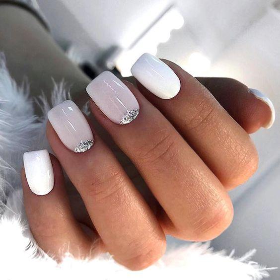Wedding white nails