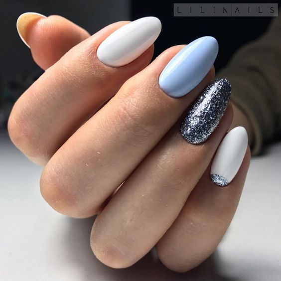 White blue nails with glitter