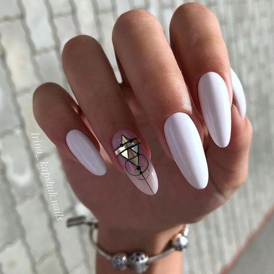 White manicure design
