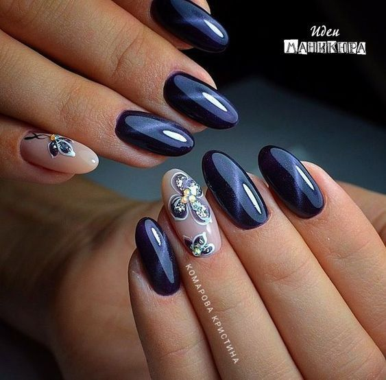 Blue cat eye nails