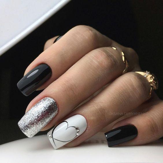 Elegant white and black nails