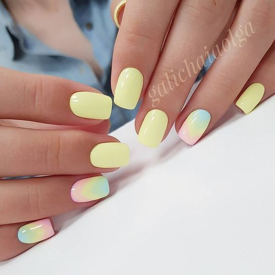 Light yellow nails with ombre