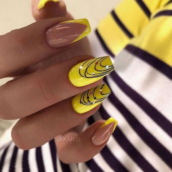 Manicure with yellow french