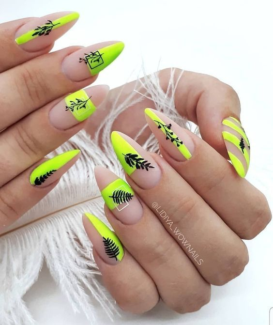 Matte manicure with neon patterns