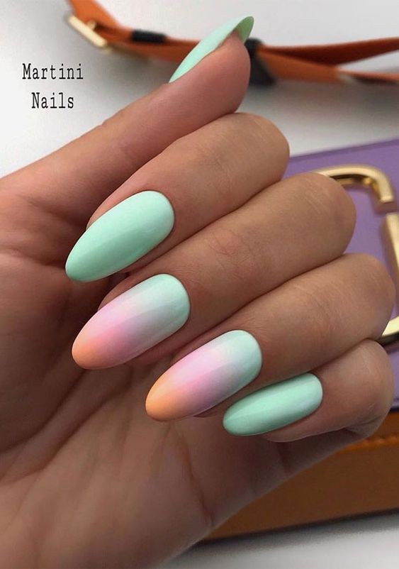 Mint pastel nails with ombre
