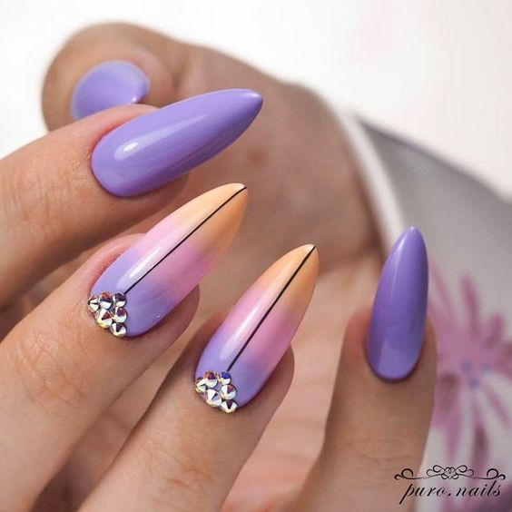 Nails with purple ombre