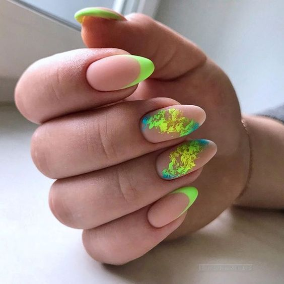 Neon manicure with french