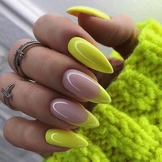 Neon nails with french