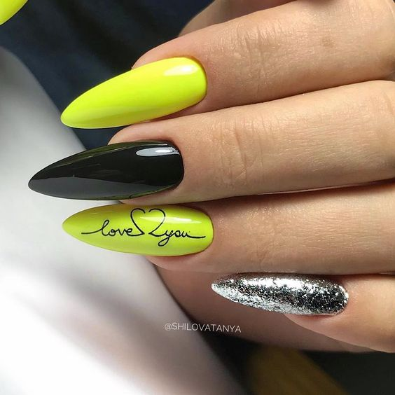 Neon nails with glitter