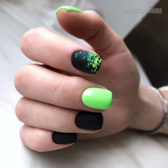 Neon nails in green shades