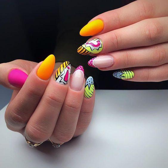 Orange nails for summer