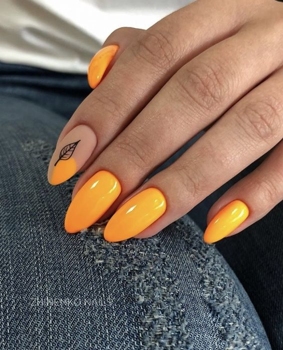 Orange nails with patterns