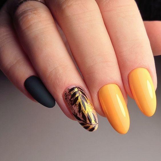 Orange nails with transfer foil