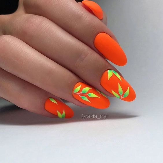 Orange neon nails