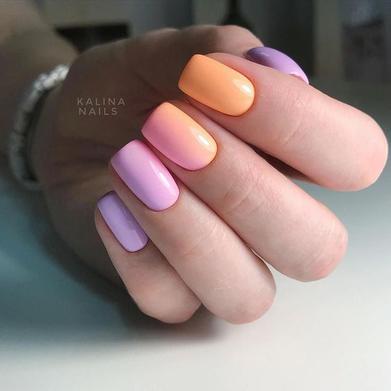 Pastel manicure with ombre