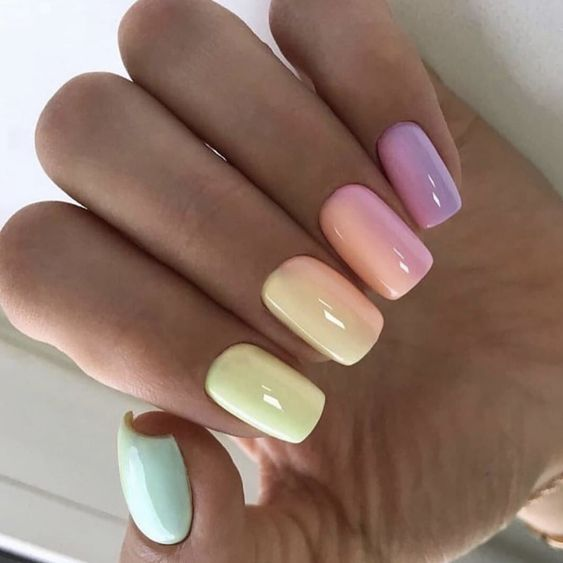 Pastel nails with ombre