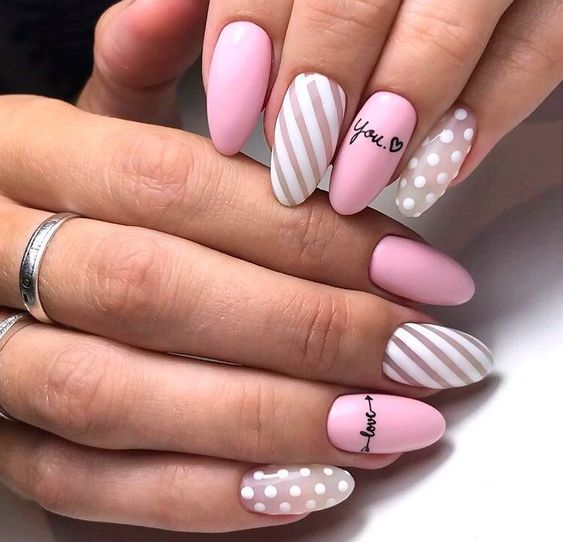 Pastel nails with patterns