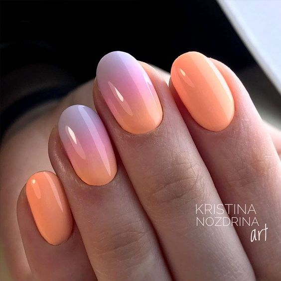Peach nails with ombre