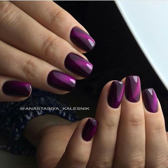 Purple cat eye nails
