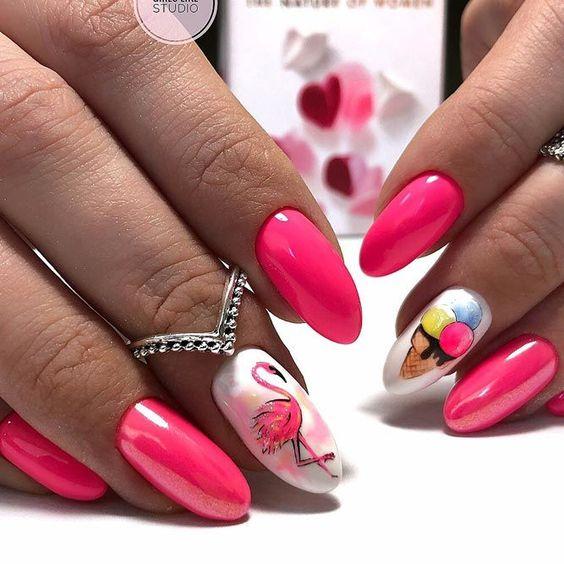 Raspberry neon nails