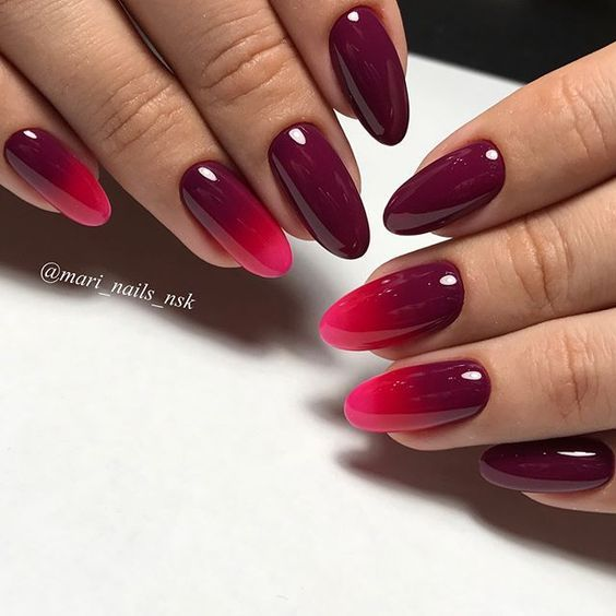 Red nails with ombre